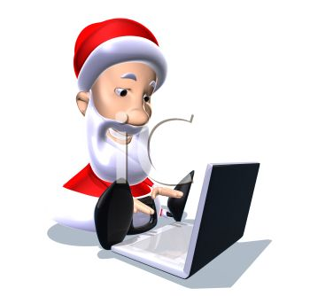 350x334 Picture Of A Cartoon Santa Sitting Down Typing On A Laptop