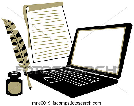 450x357 Stock Illustration Of A Laptop Computer, A Notepad, A Quill