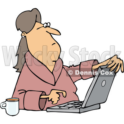 400x400 Of Caucasian Woman In Her Robe, Sitting With Coffeend Using