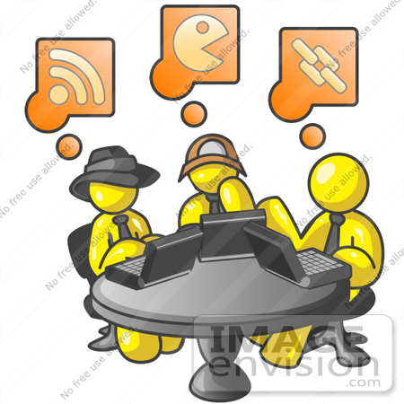 450x450 Clip Art Graphic Of Yellow Guy Characters Using Laptops In