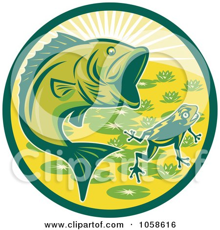 450x470 Clipart Of A Retro Green Jumping Largemouth Bass Fish