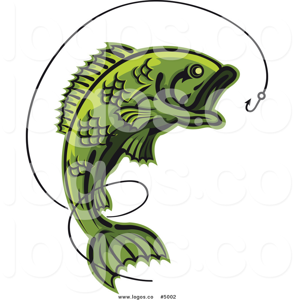 1024x1044 Royalty Free Vector Of A Green Leaping Fish And Hook Logo By