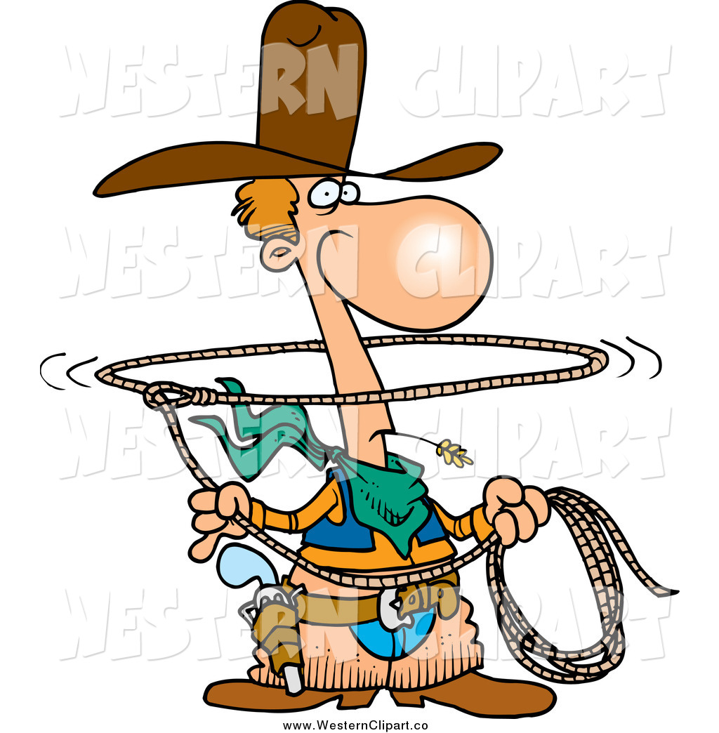 1024x1044 Vector Clip Art Of A Cartoon Western Lasso Cowboy By Toonaday