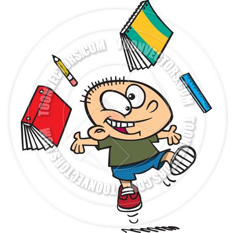 460x460 Cartoon Boy Celebrating Last Day of School by Ron Leishman Toon