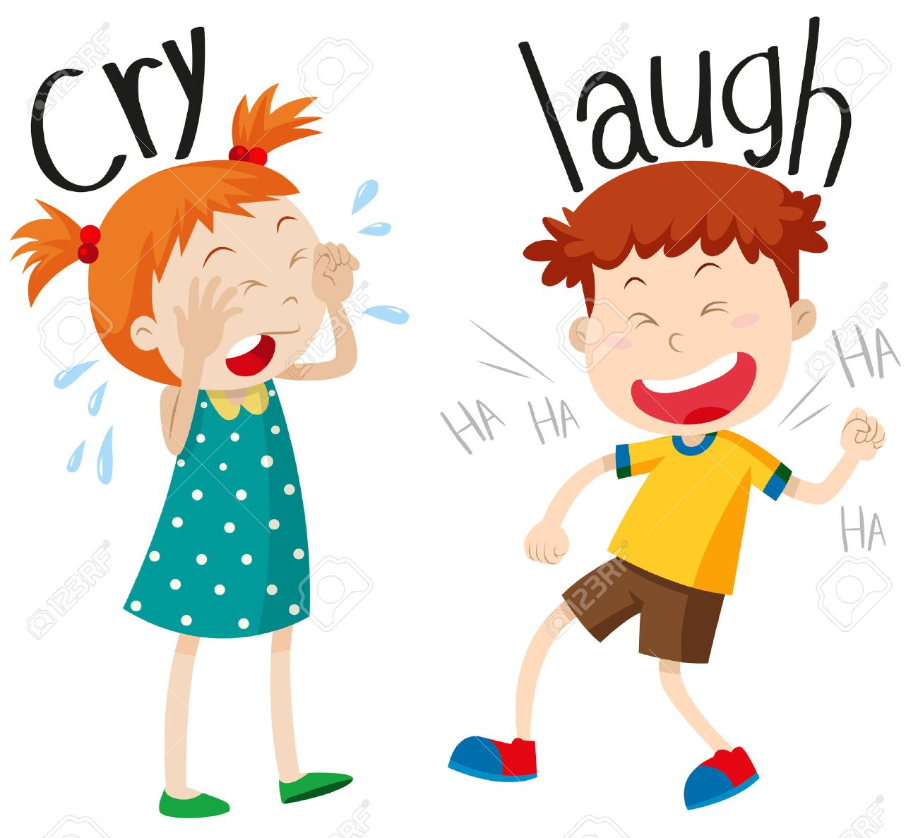 1300x1187 Opposite Adjectives Cry And Laugh Illustration Royalty Free