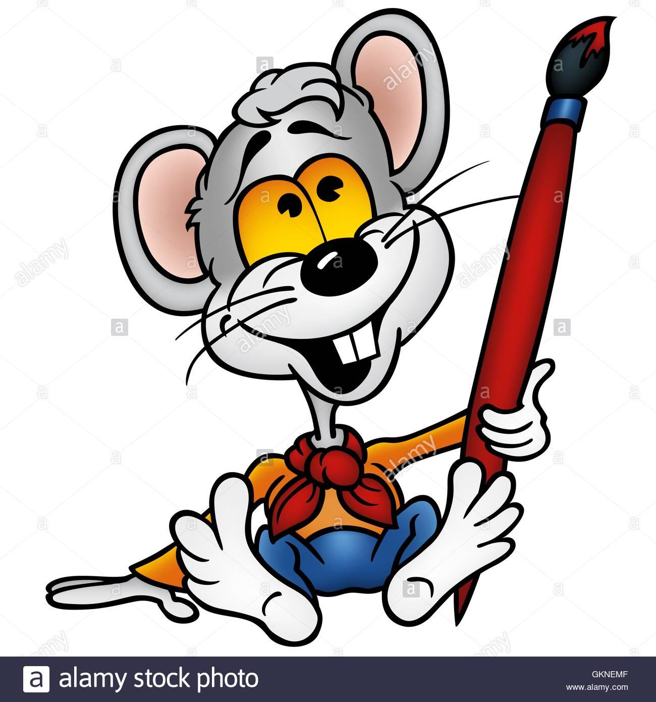 1300x1390 Animal Brush Mouse Cartoon Artist Painter Paintbrush Brushing