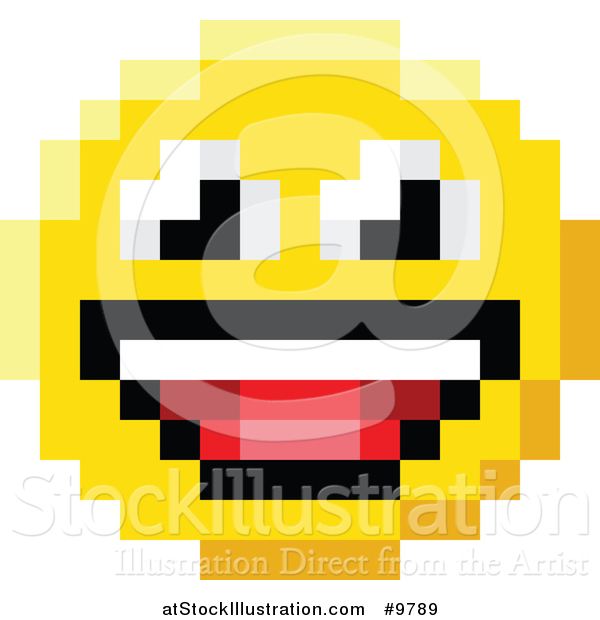 600x620 Vector Illustration Of A Laughing 8 Bit Video Game Style Emoji