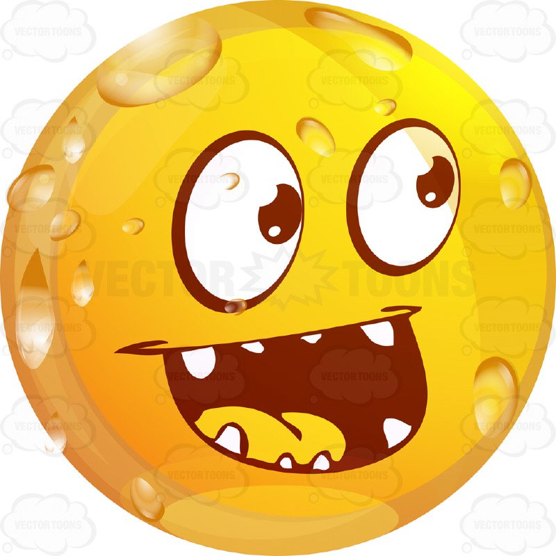 800x800 Laughing Wet Yellow Smiley Face Emoticon With Pointy Teethy, Wide