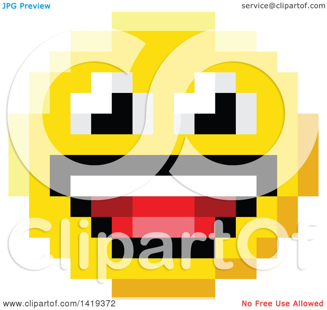1080x1024 Clipart Of A Laughing 8 Bit Video Game Style Emoji Smiley Face