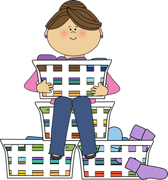 328x350 Mom Surrounded By Laundry Clip Art Image