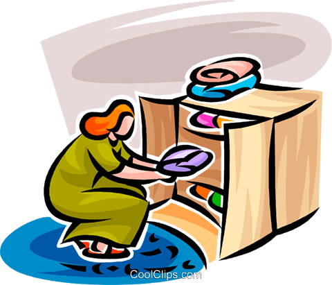 480x411 Woman Putting Away Laundry Royalty Free Vector Clip Art