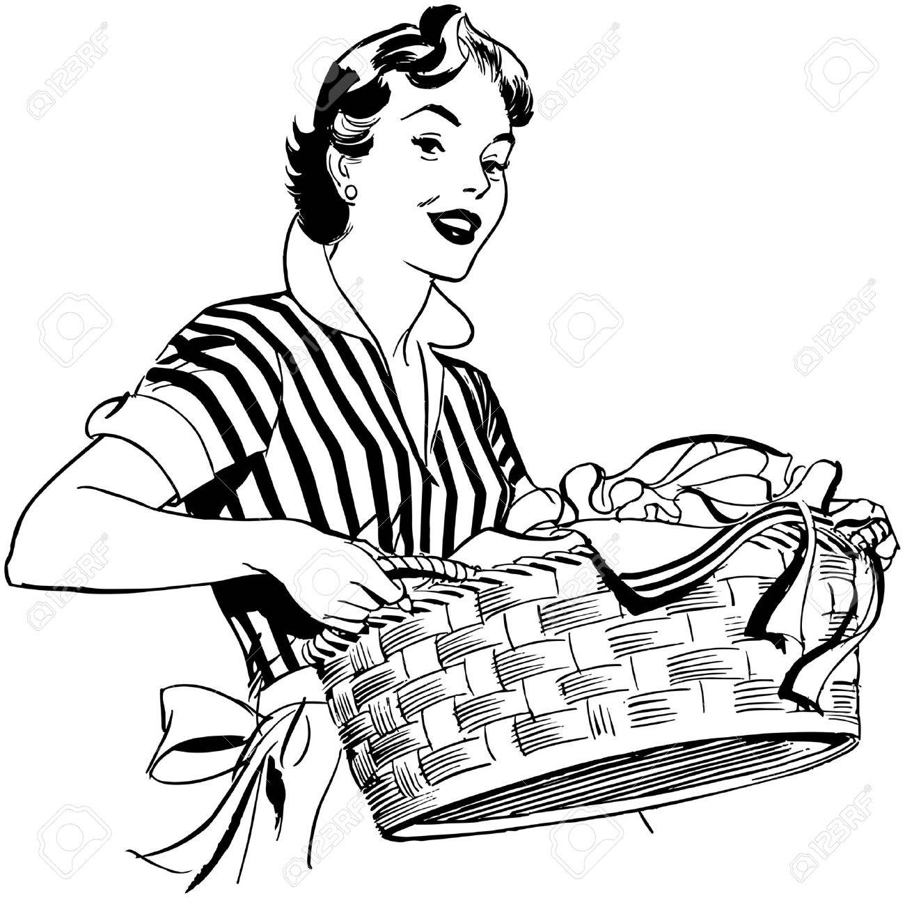 1300x1289 Lady With Laundry Basket Royalty Free Cliparts, Vectors, And Stock