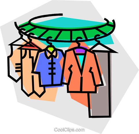 480x464 Clothes On A Clothes Rack Royalty Free Vector Clip Art