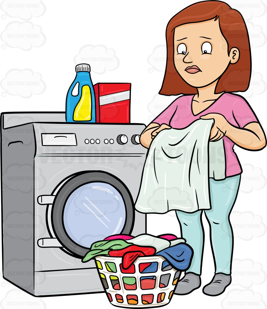887x1024 A Woman Looks At A Washed Garment With Disappointment On Her Face