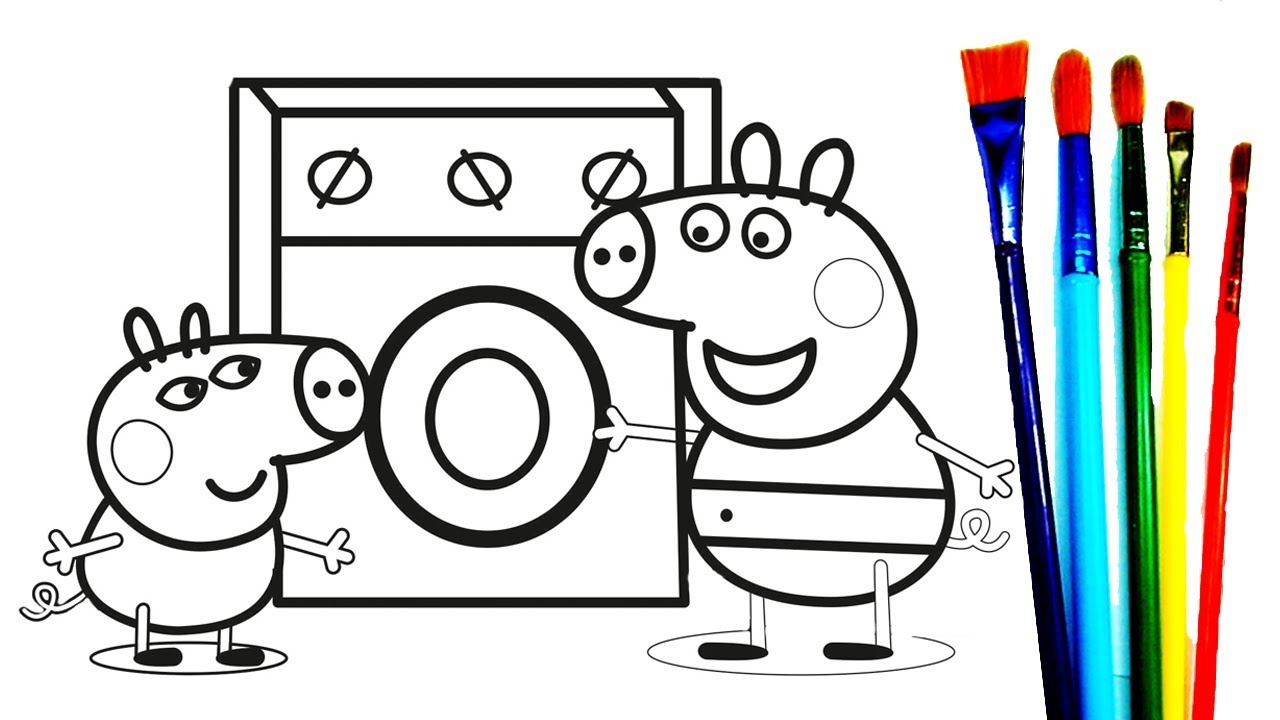 1280x720 Peppa Pig George Pig Laundry Room Coloring Book Learning Drawing