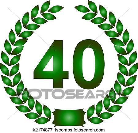 450x434 Stock Illustration Of Green Laurel Wreath 40 Years K2174877