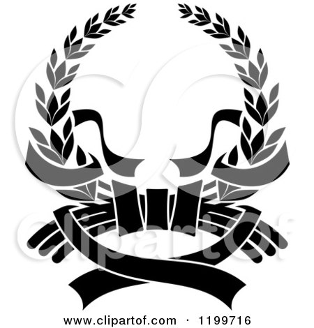 450x470 Clipart Of A Black Laurel Wreath With Ribbons 2