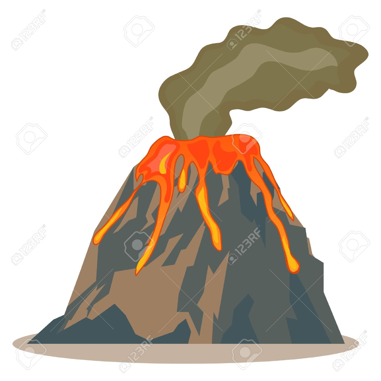 1300x1300 Volcano, Volcano Icon, Lava, Mountain Flat Design Vector