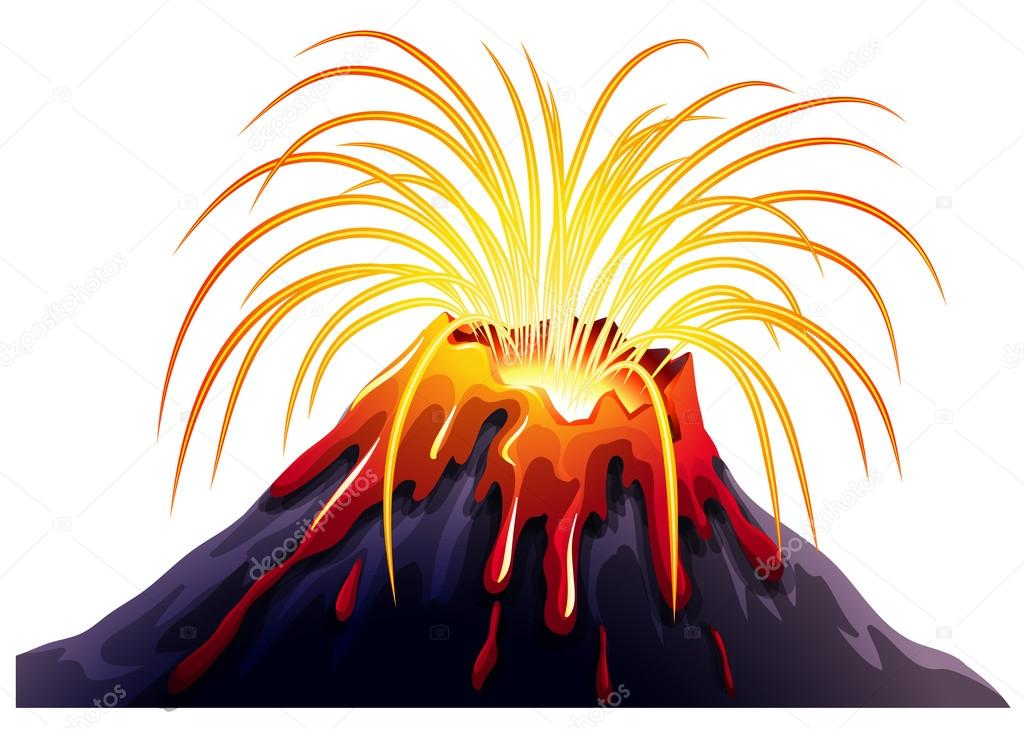 1024x729 Volcano Eruption With Hot Lava Stock Vector Blueringmedia