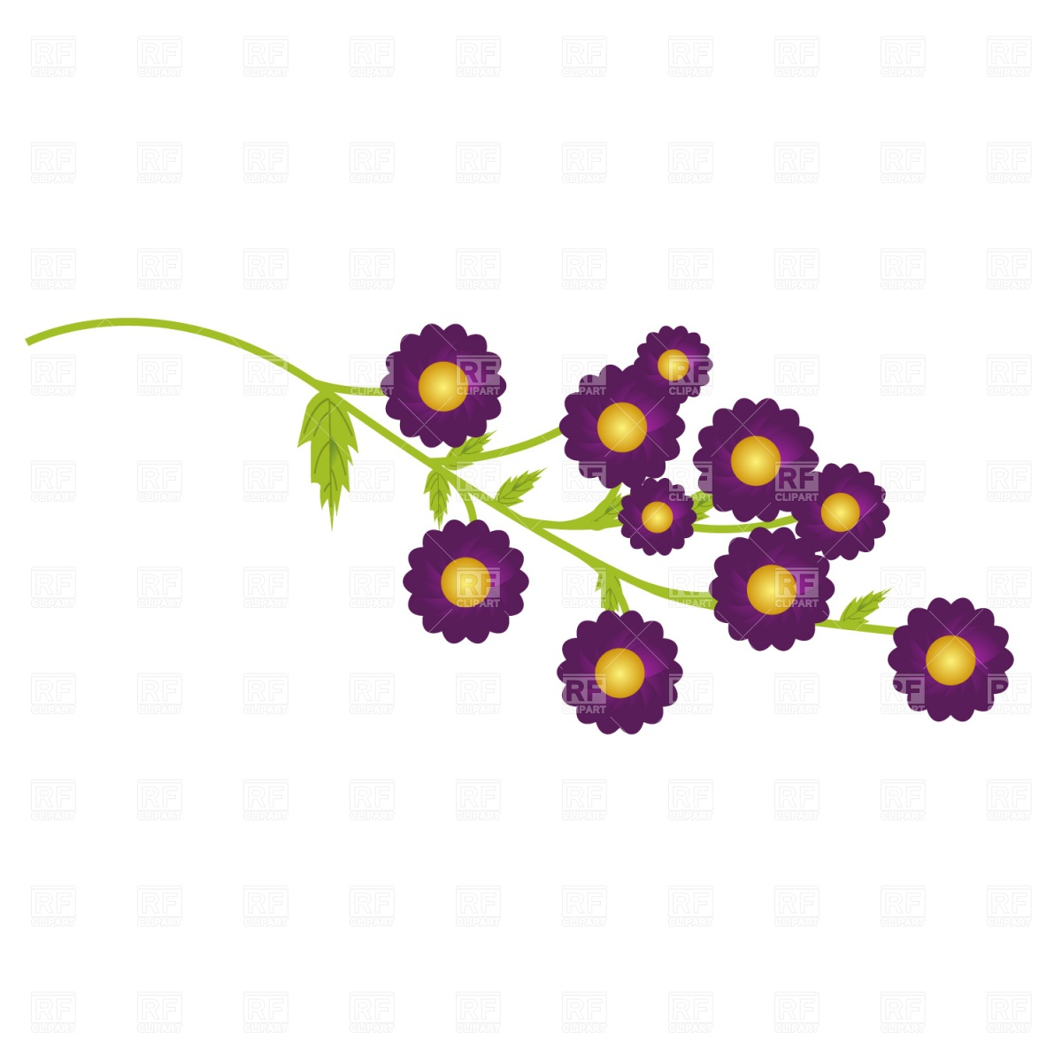 1200x1200 Lavender Flower With Leaves Royalty Free Vector Clip Art Image