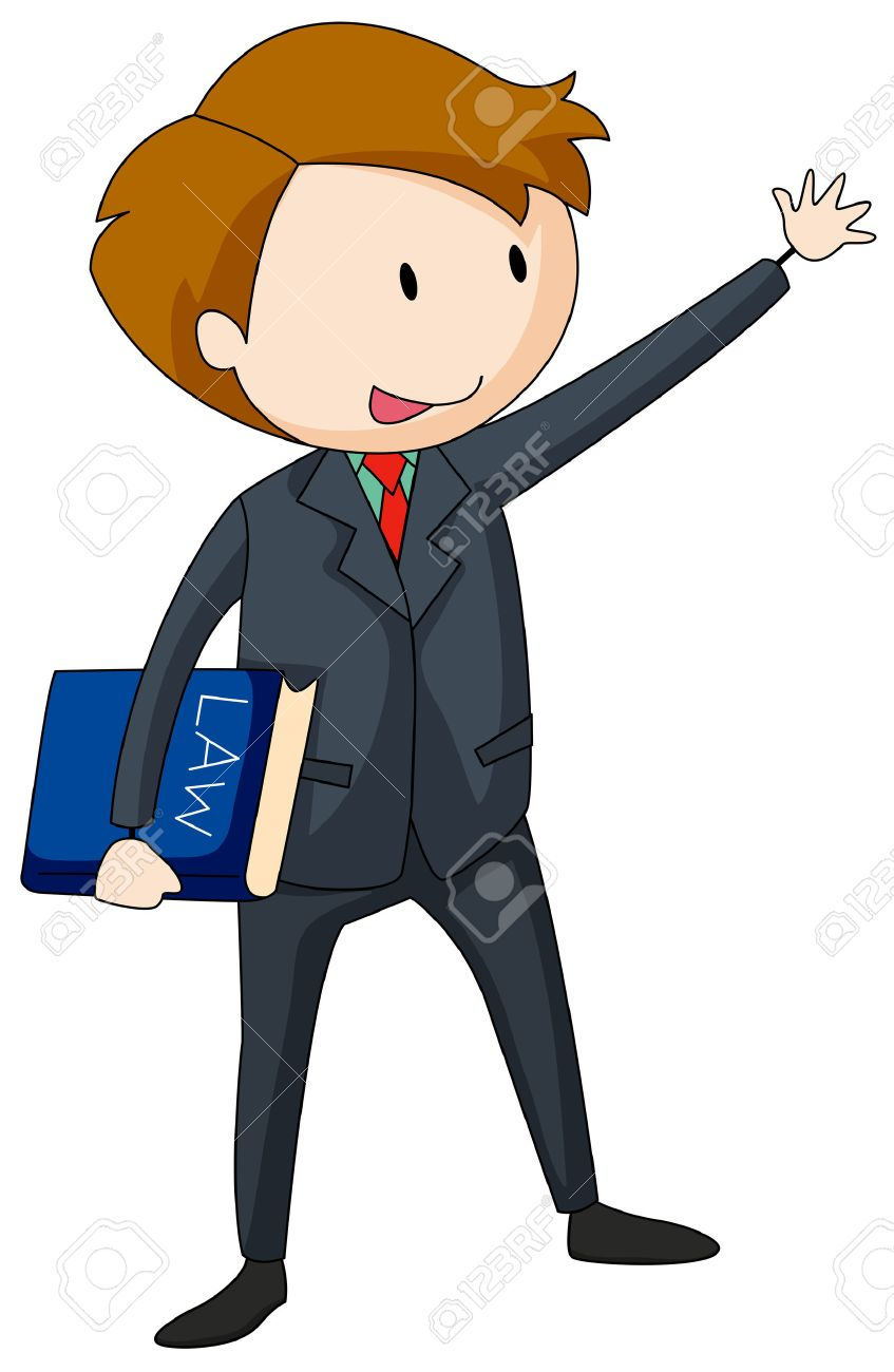 847x1300 Lawyer In Suit Carrying A Law Book Illustration Royalty Free