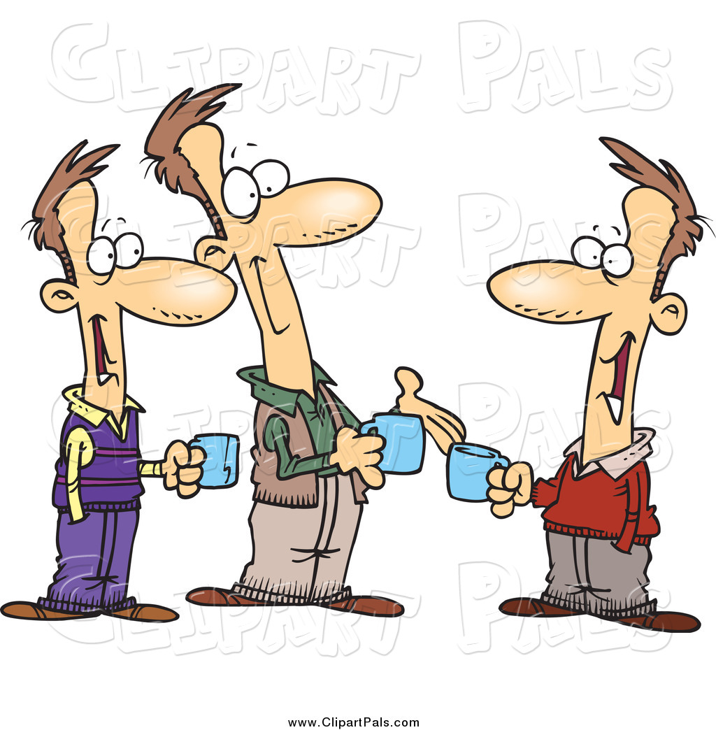 1024x1044 Pal Clipart Of Cartoon Brothers Talking Over Coffee By Toonaday