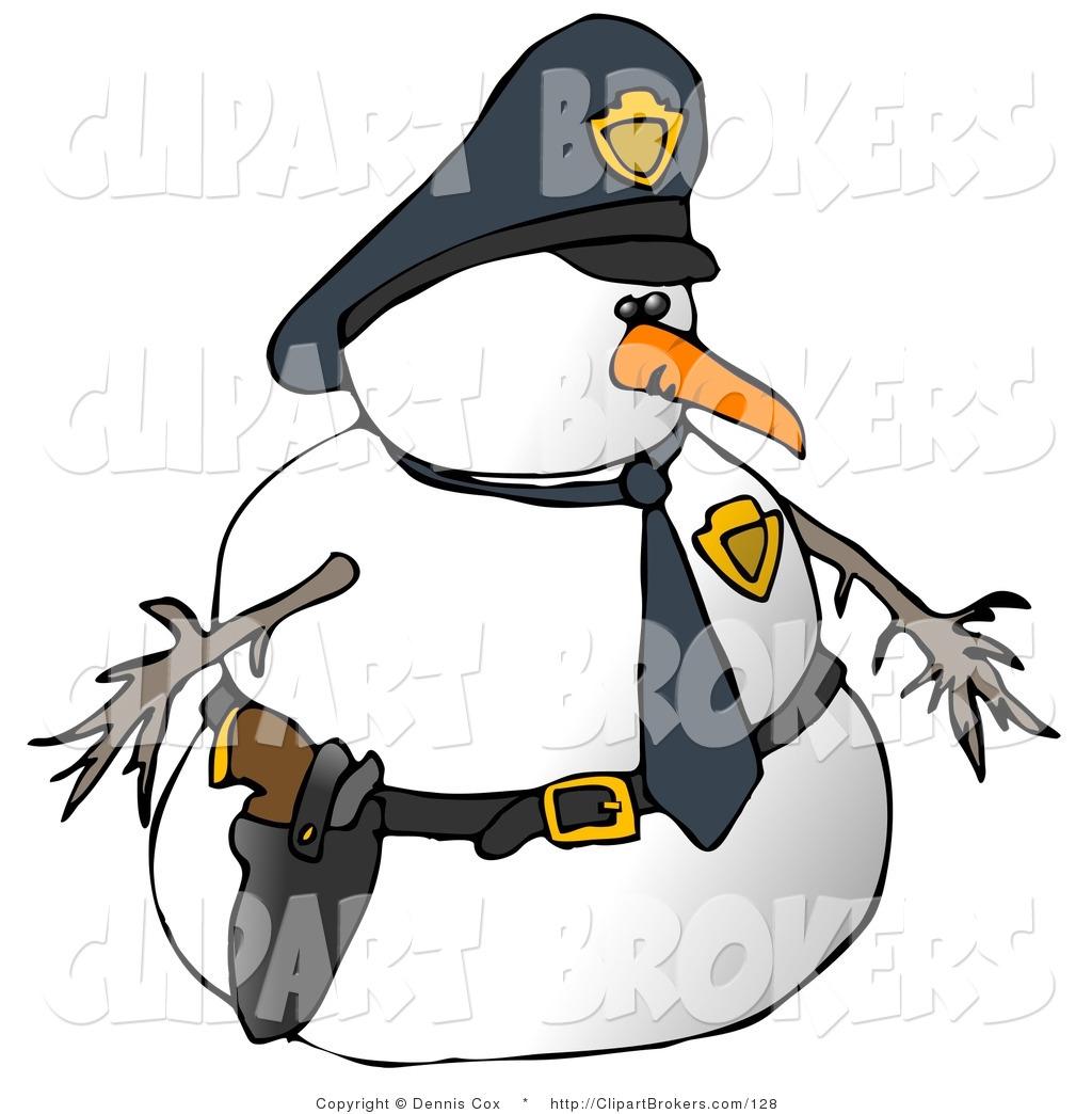 1024x1044 Clip Art Of A Snowman Police Officer Facing Right By Djart