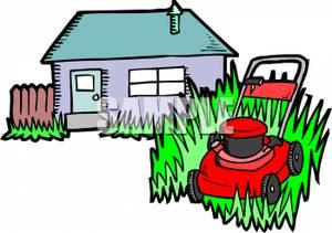 300x211 Lawn Mower Cutting Grass Outside A House Clip Art Image
