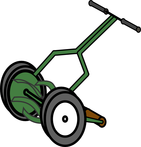 570x596 Cartoon Push Reel Lawn Mower Clip Art