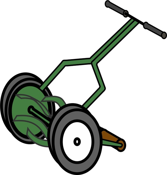 574x600 Cartoon Push Reel Lawn Mower Free Vector In Open Office Drawing