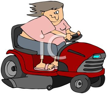 350x307 Chubby Woman Going Fast On A Riding Lawnmower
