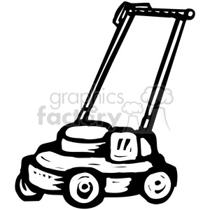 300x300 Royalty Free Black And White Push Mower 384959 Vector Clip Art