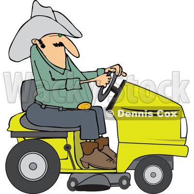 400x400 Of A Chubby Cowboy Riding A Yellow Lawn Mower