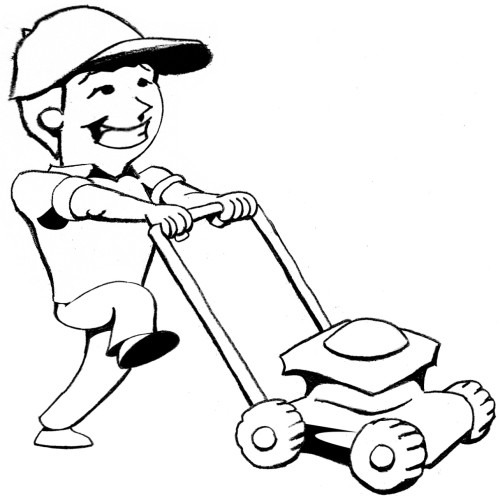 500x500 Person Mowing Lawn Clipart
