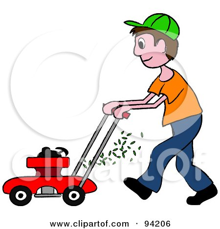 450x470 Royalty Free (Rf) Clipart Illustration Of A Silhouetted Boy Mowing