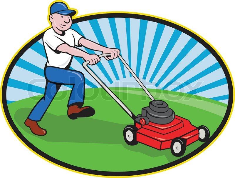 800x605 Lawn Mower Man Gardener Cartoon Stock Vector Colourbox