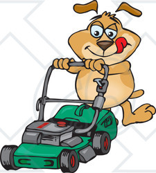 225x250 Clipart Of A Sparkey Dog Pushing A Green Lawn Mower