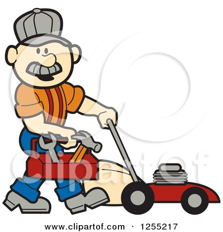 450x470 Royalty Free (Rf) Clipart Of Lawn Mowers, Illustrations, Vector