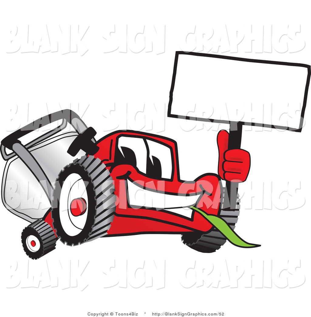 1024x1044 Vector Illustration Of A Happy Red Lawn Mower Holding Up A Blank