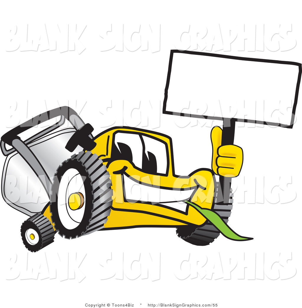 1024x1044 Vector Illustration Of Happy Yellow Lawn Mower Holding Up