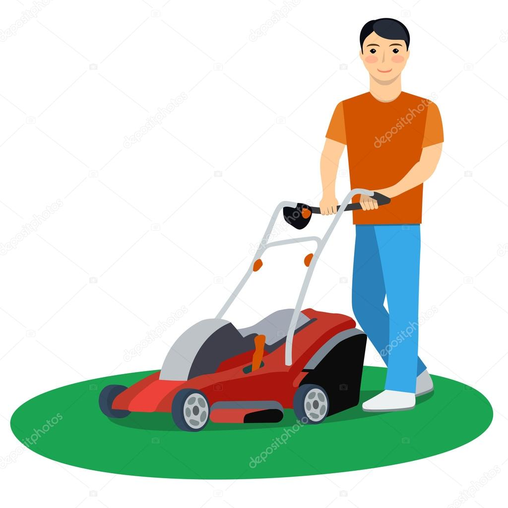 1024x1024 Vector Illustration Of A Man With Lawn Mower Stock Vector