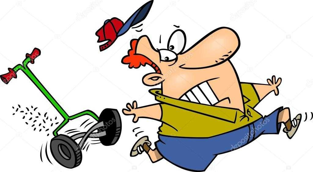 1024x565 Cartoon Man Chased By A Lawn Mower Stock Vector Ronleishman