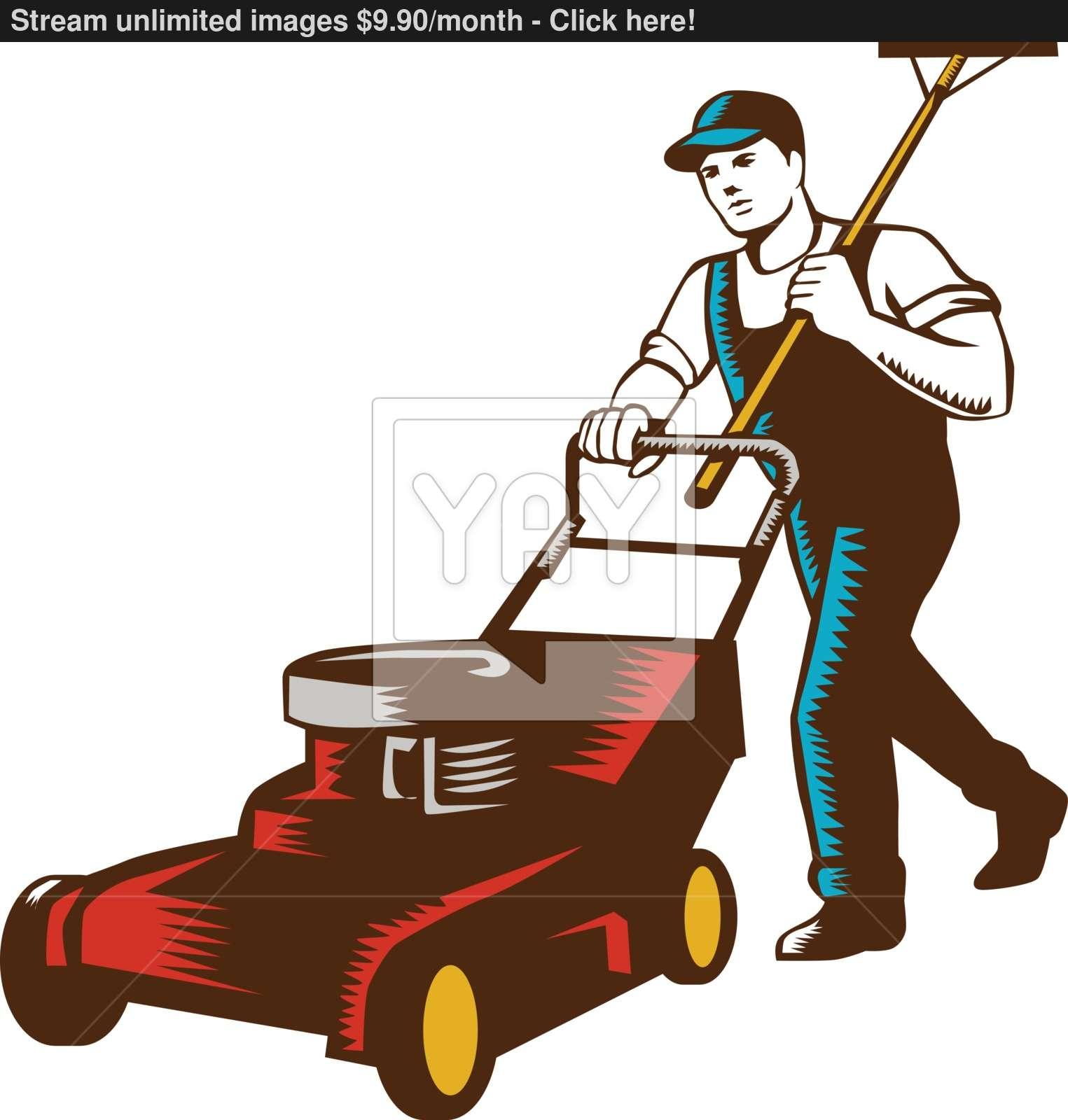 1525x1600 Gardener Lawn Mower Rake Woodcut Vector