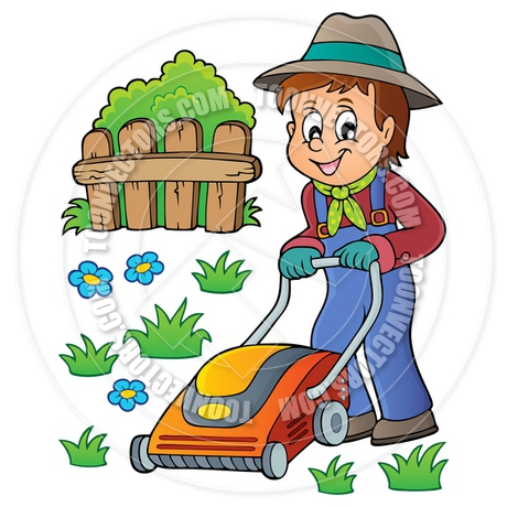 460x460 Cartoon Gardener With Lawn Mower Theme Image By Clairev Toon
