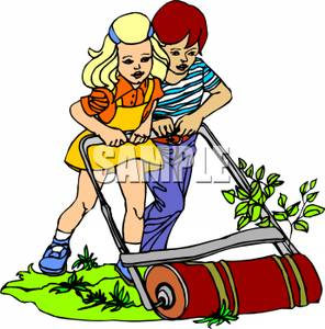 296x300 Free Clipart Image A Boy And Girl Pushing An Old Fashioned Lawn Mower