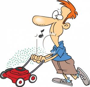 300x288 Man Clipart Mowing Lawn