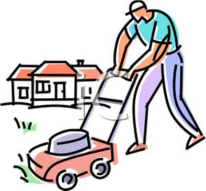 300x278 Muscular Man Mowing The Lawn In Front Of His House Clipart Picture