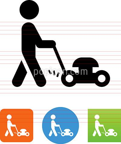 400x474 Person Pushing A Lawn Mower Icon