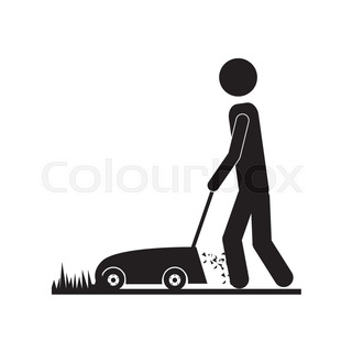 320x320 Vector Illustration Of Young Man Cartoon Cutting Grass With A Push