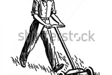 450x300 Vintage Lawn Mower Man Clip Art
